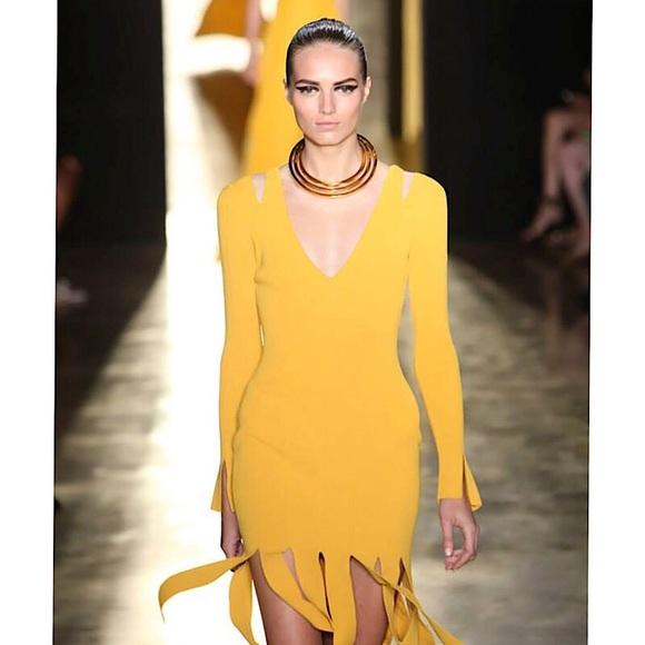 CUSHNIE ET OCHS Marigold Fringe Dress